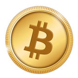 Bitcoin. Symbol in a gold coin isolated on white Stock Image