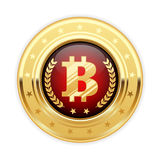 Bitcoin symbol on gold medal - cryptocurrency icon. Bitcoin symbol on gold medal - cryptocurrency badge icon Stock Images