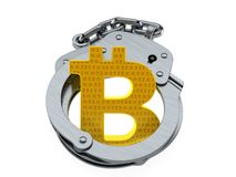 Bitcoin symbol with handcuffs. Isolated on white background. 3d illustration Royalty Free Stock Images