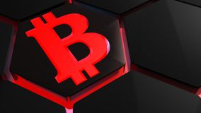 Bitcoin symbol on hexagon with red backlight - 3D rendering Stock Photo