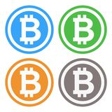 Bitcoin symbol illustration in 4 colors. vector illustration