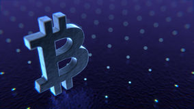 Bitcoin-Symbol im abstrakten virtuellen digitalen Raum illustratio 3D Stockbild
