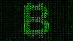Bitcoin symbol made of green figures on a black computer screen. Cryptocurrency related motion background. 3D rendering Stock Images