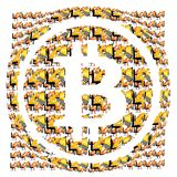 Bitcoin symbol and many miners digital illustration Royalty Free Stock Images