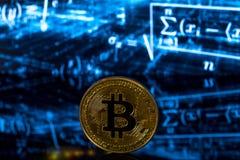Bitcoin symbol of mining. Bitcoin symbol metal coin mining Stock Images