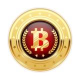 Bitcoin symbol na złotym medalu - cryptocurrency ikona Obrazy Stock