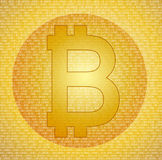 Bitcoin symbol på den abstrakta digitala bakgrunden Arkivbild