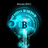 Bitcoin symbol and price chart. Cryptocurrency concept. Futuristic vector blue design.  Royalty Free Stock Photography