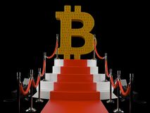 Bitcoin symbol on red carpet. Isolated on black background. 3d illustration Stock Photos