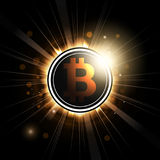 Bitcoin symbol shines with rays. Symbol of coin bitcoin shines with rays stylized under a solar eclipse. Vector illustration Royalty Free Stock Photo