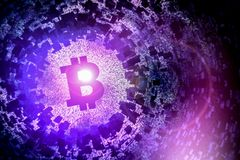 Bitcoin symbol with spiral galaxy universe neblua sky astronomy purple blue Stock Photography