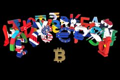 The bitcoin symbol is surrounded by a discontented crowd of currency symbols from all over the world. 3D rendering, illustration stock illustration