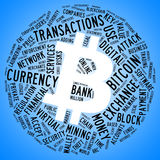 Bitcoin symbol with tag cloud. Bitcoin currency symbol with tag cloud concept Royalty Free Stock Image