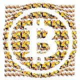 Bitcoin-Symbol und digitale Illustration vieler Bergmänner Lizenzfreie Stockbilder