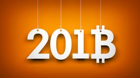 Bitcoin - Symbol von Ney Year Abbildung des neuen Jahres Stockbilder