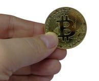 Bitcoin symbol w ręce Obraz Royalty Free