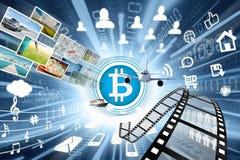 Bitcoin symbol z dużo protestuje Zdjęcie Royalty Free