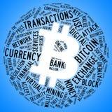 Bitcoin symbol z etykietki chmurą Obraz Royalty Free