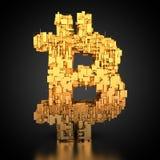 Bitcoin symbol z techniki teksturą ilustracja wektor