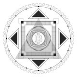 Bitcoin Symmetrical Pattern Black. Symmetrical pattern in line-art style with a bitcoin symbol in the center, black and white palette Stock Photo