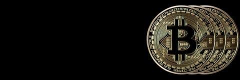 Bitcoin sztandaru chodnikowiec tła menniczego złota ilustracja odizolowywający wektorowy biel Cryptocurrency z przestrzenią dla Obraz Royalty Free