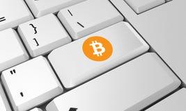 Bitcoin tangentbord Bitcoin tecken 3d framför Royaltyfri Fotografi