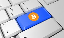 Bitcoin tangentbord Bitcoin tecken 3d framför Arkivfoto