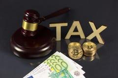Bitcoin and tax vector illustration