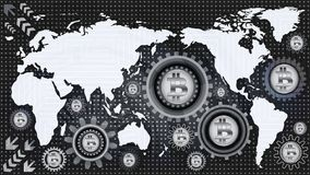 Bitcoin technological background with world map and machine gear mechanisms of black, gray and white shades. Abstract bitcoin technological background with world Stock Photo