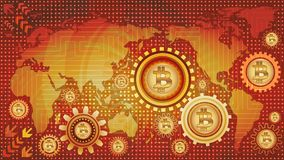 Bitcoin technological background with world map and machine gear mechanisms of red, orange, and yellow shades. Abstract bitcoin technological background with Stock Photo