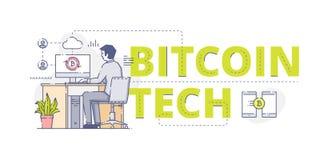 Bitcoin-Technologie-Netzfahne Stockbilder