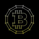 Bitcoin technology abstract sign. Vector. Illustration.  on black background.Crypto-currency, money concept Royalty Free Stock Photography