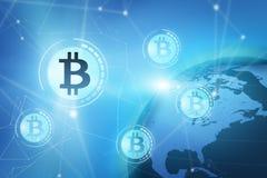 Bitcoin tecken på den blåa faktiska skärmen arkivbilder