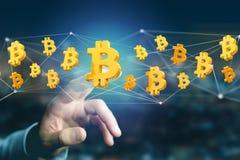 Bitcoin teckenflyg runt om en nätverksanslutning - 3d framför Royaltyfria Foton