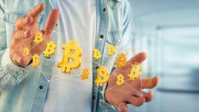 Bitcoin teckenflyg runt om en nätverksanslutning - 3d framför Arkivfoto
