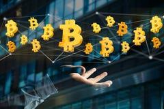 Bitcoin teckenflyg runt om en nätverksanslutning - 3d framför Royaltyfri Foto