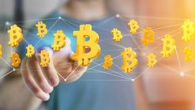 Bitcoin teckenflyg runt om en nätverksanslutning - 3d framför Arkivbilder