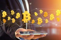 Bitcoin teckenflyg runt om en nätverksanslutning - 3d framför Arkivfoton