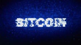 Bitcoin teksta Cyfrowego hałasu drgania usterki wykoślawienia skutka błędu animacja ilustracja wektor