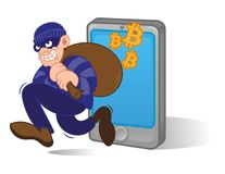 Bitcoin thief. Cartoon dangerous criminal thief hacker dressed in dark mask running with big bag stolen cryptocurrency bitcoin with smartphone. Internet finance royalty free illustration