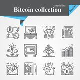 Bitcoin thin line icon set. Isolated on a white background.Modern of thin line and flat icons collection .Linear trendy symbols set.Premium Stock Image
