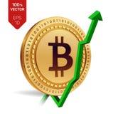 Bitcoin tillväxt pilgreen upp Den Bitcoin indexvärderingen går upp på utbytesmarknad Crypto valuta isometriskt fysiskt guld- mynt Royaltyfri Bild