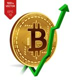 Bitcoin tillväxt pilgreen upp Den Bitcoin indexvärderingen går upp på utbytesmarknad Crypto valuta isometriskt fysiskt guld- mynt Arkivfoton