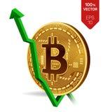 Bitcoin tillväxt pilgreen upp Den Bitcoin indexvärderingen går upp på utbytesmarknad Crypto valuta isometriskt fysiskt guld- mynt Royaltyfria Foton