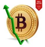 Bitcoin tillväxt pilgreen upp Den Bitcoin indexvärderingen går upp på utbytesmarknad Crypto valuta isometriskt fysiskt guld- mynt Fotografering för Bildbyråer