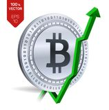 Bitcoin tillväxt pilgreen upp Den Bitcoin indexvärderingen går upp på utbytesmarknad Crypto valuta isometriskt fysiskt silvermynt Royaltyfria Bilder