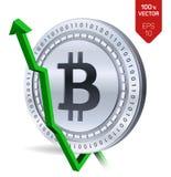 Bitcoin tillväxt pilgreen upp Den Bitcoin indexvärderingen går upp på utbytesmarknad Crypto valuta isometriskt fysiskt silvermynt Fotografering för Bildbyråer