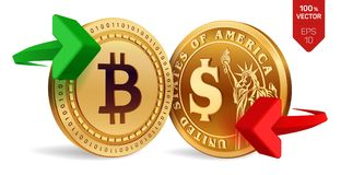 Bitcoin to dollar currency exchange. Bitcoin. Dollar coin. Cryptocurrency. Golden coins with Bitcoin and Dollar symbol with green. And red arrows. 3D isometric Stock Photography