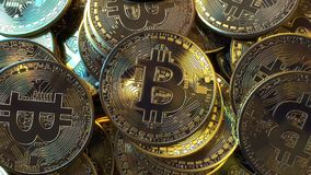 Bitcoin tokens pile close-up. 3D rendering Stock Photo