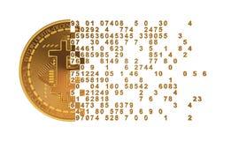 Bitcoin tombant en morceaux aux chiffres illustration libre de droits
